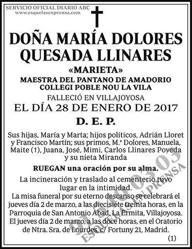 María Dolores Quesada Llinares